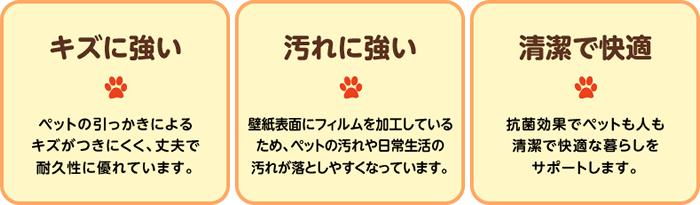 ペット住まいる壁紙の3つの特徴